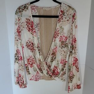 Love Stitch floral top with lace detail.  Medium